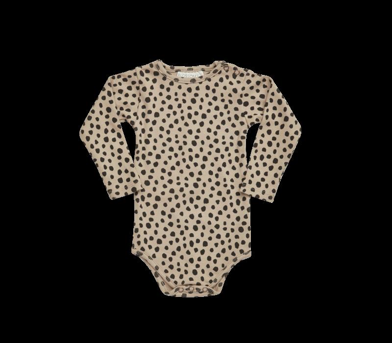 Blossom kids - Printed ribbed body animal dot warm sand
