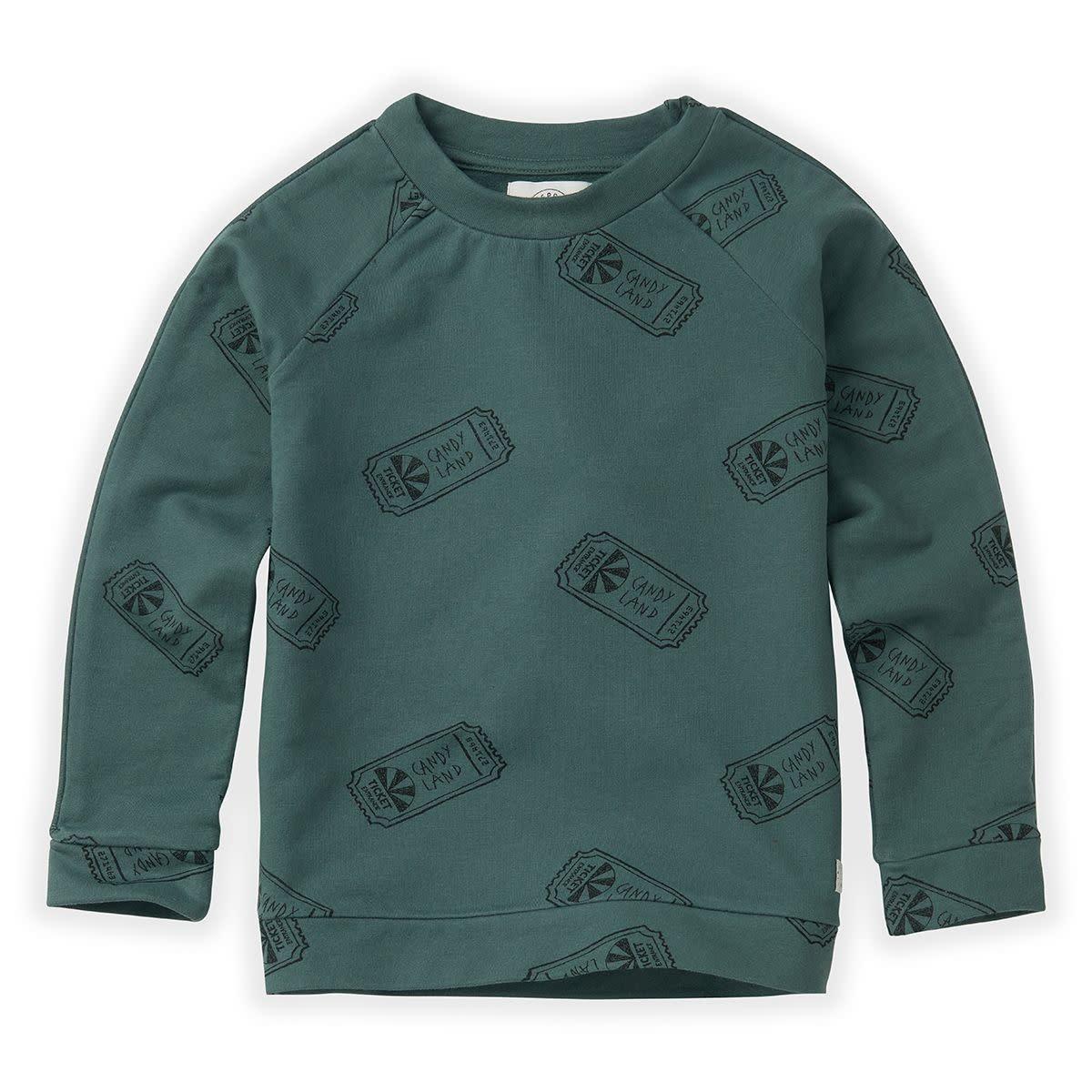 Sproet & Sprout Sproet&Sprout - Sweatshirt raglan ticket aop dusty green