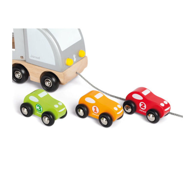 Janod - Vrachtwagen met drie autos