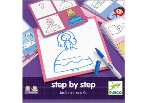 Djeco Djeco - Tekenkaarten prinsessen  step by step