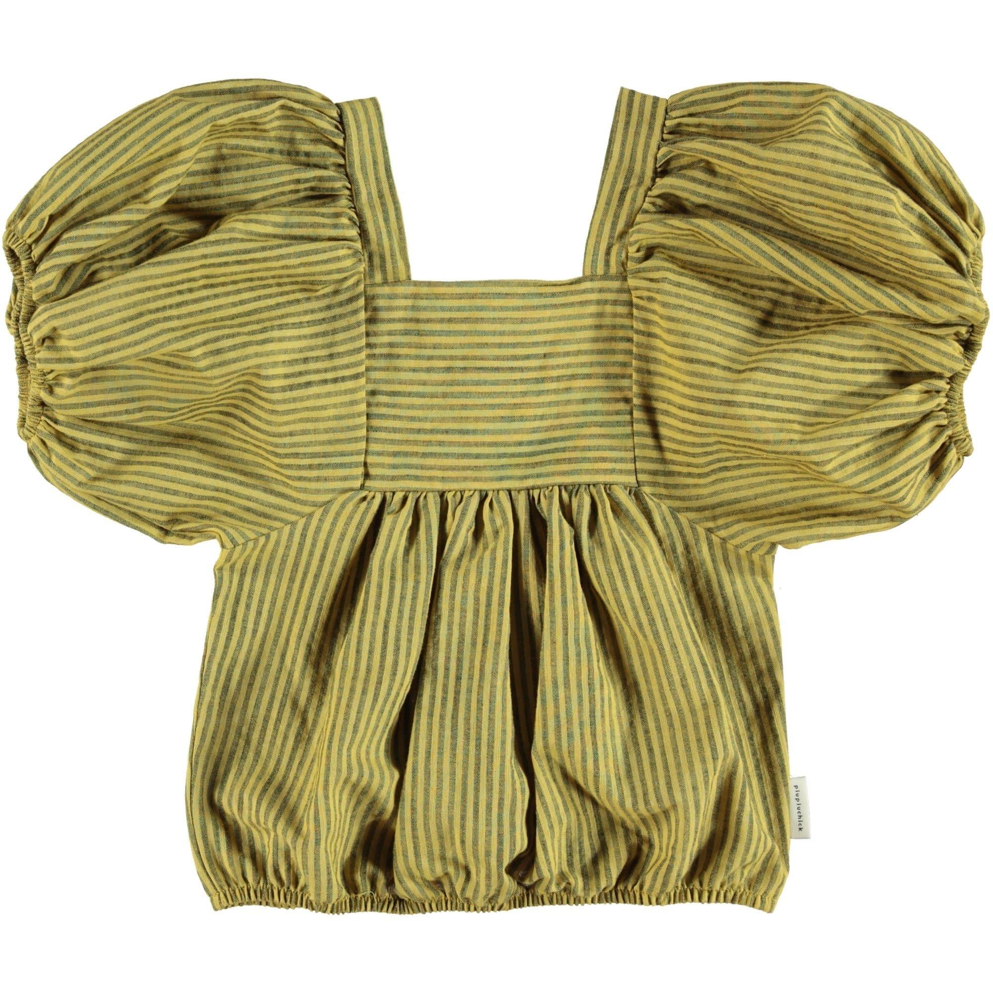 Piupiuchick Piupiuchick - Top ballon sleeves yellow with grey stripes