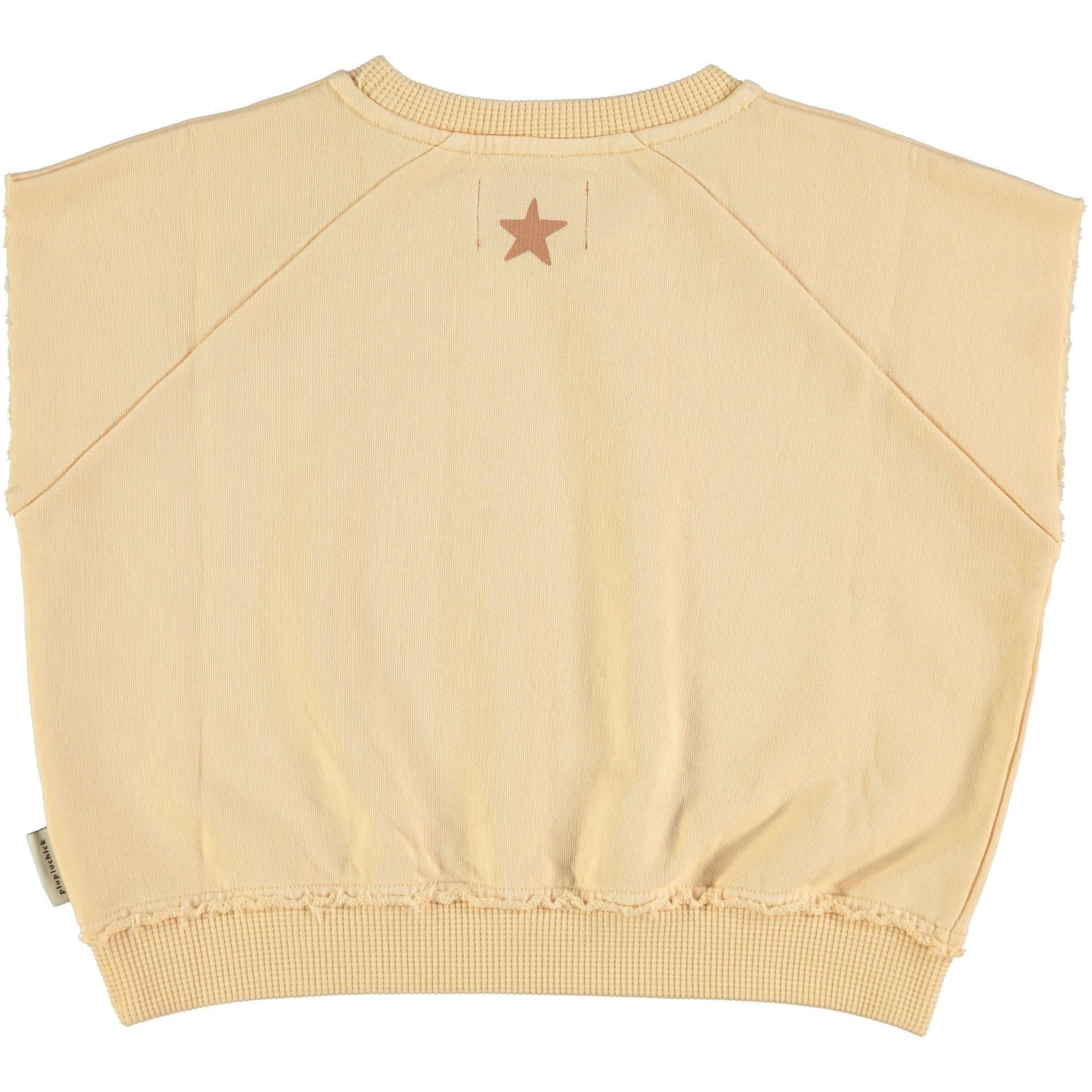 Piupiuchick Piupiuchick - Sleeveless sweatshirt sand with print