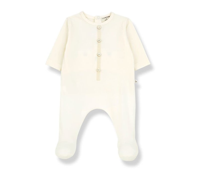 1+ in the family - Didier jumpsuit with feet ecru