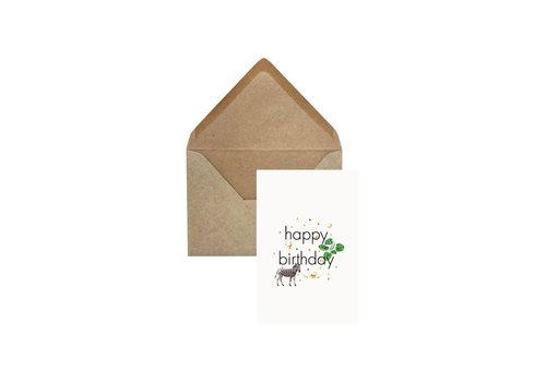 Creative Lab Creative Lab - Happy Birthday zebra - Elephant grass card