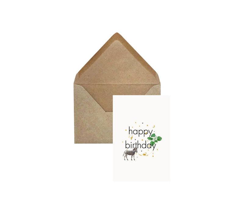 Creative Lab - Happy Birthday zebra - Elephant grass card