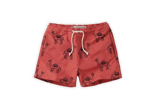 Sproet & Sprout Sproet & Sprout - Swimshort camel cherry red