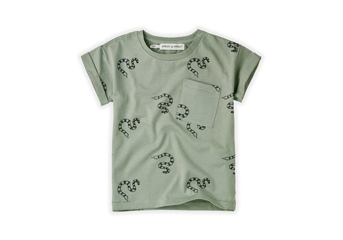 Sproet & Sprout Sproet&Sprout - T-shirt print snake eucalyptus