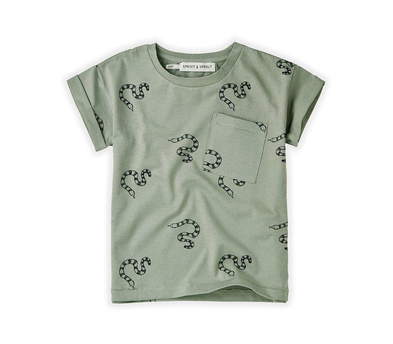 Sproet&Sprout - T-shirt print snake eucalyptus