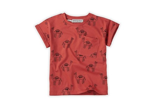 Sproet & Sprout Sproet&Sprout - T-shirt print camel cherry red -  6/12 month