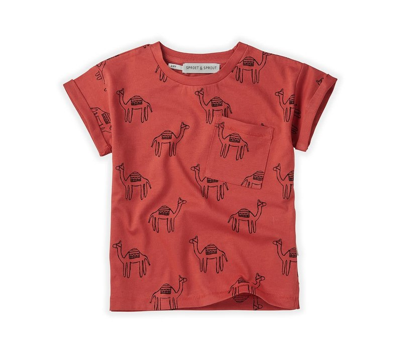 Sproet&Sprout - T-shirt print camel cherry red  -  6/12 month