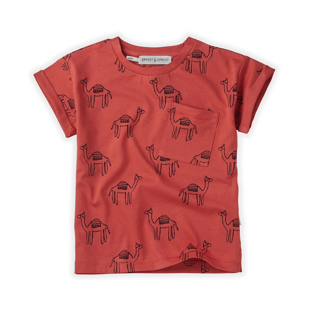 Sproet & Sprout Sproet&Sprout - T-shirt print camel cherry red