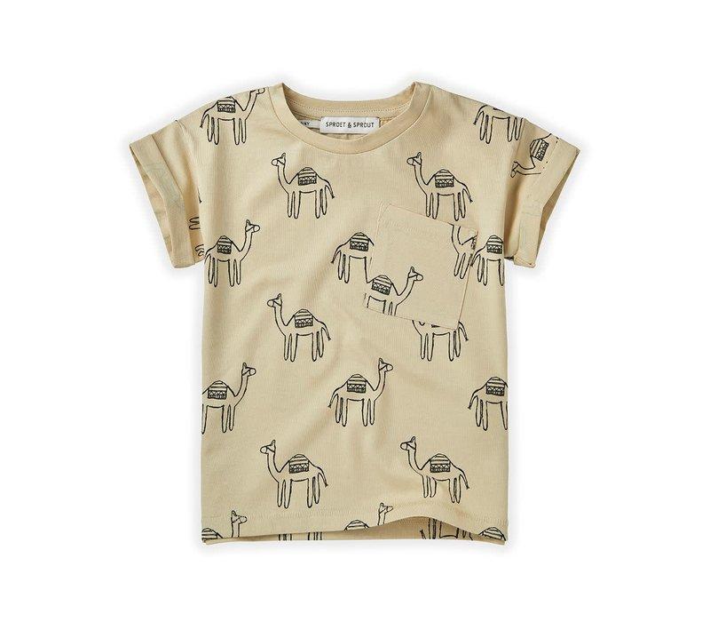 Sproet&Sprout - T-shirt print camel sesam - 18/24 month