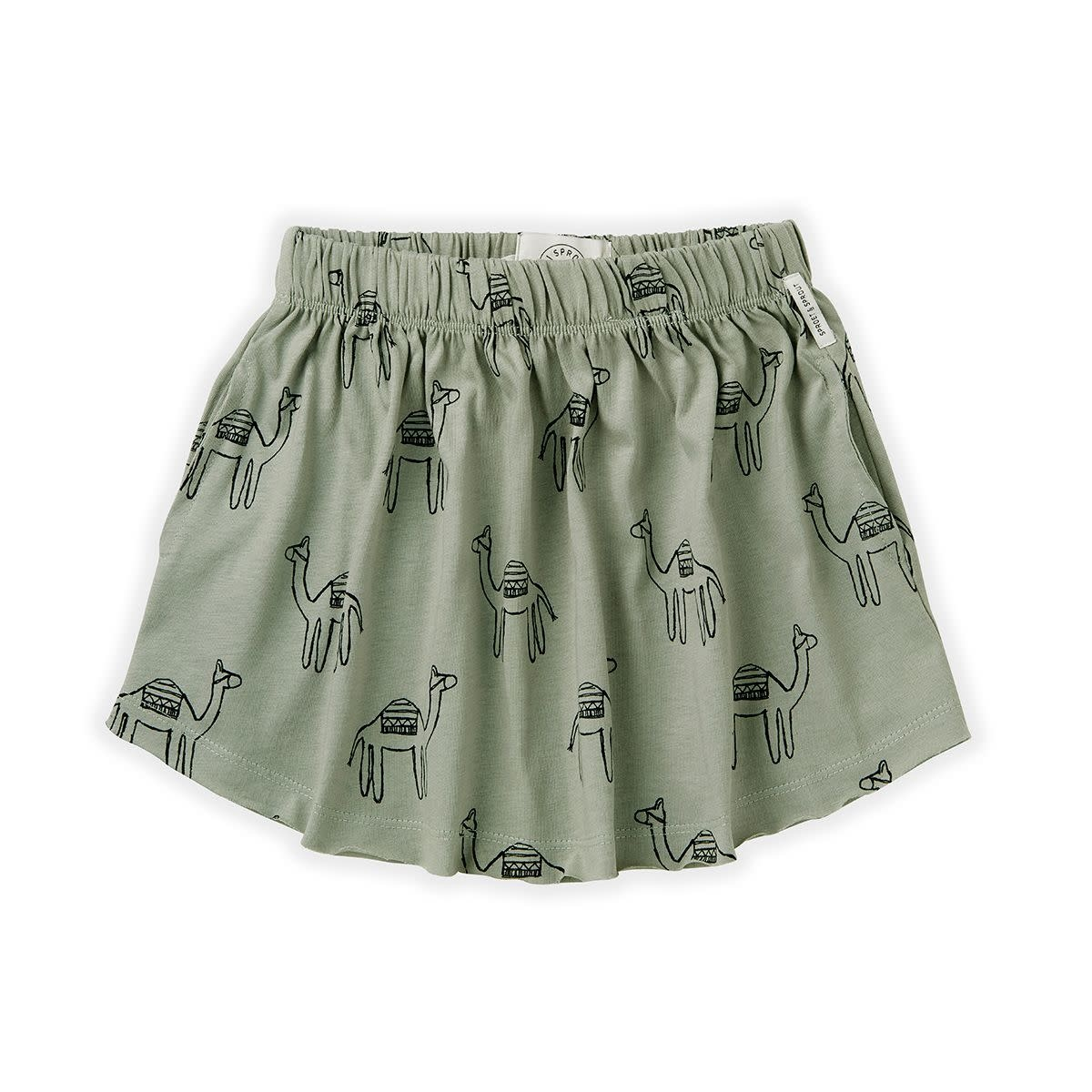 Sproet & Sprout Sproet&Sprout - Skirt print camel eucalyptus