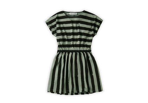 Sproet & Sprout Sproet&Sprout - Skater dress painted stripe eucalyptus