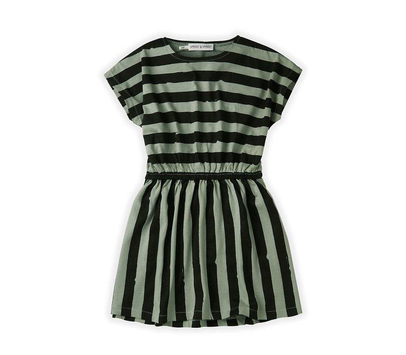 Sproet&Sprout - Skater dress painted stripe eucalyptus