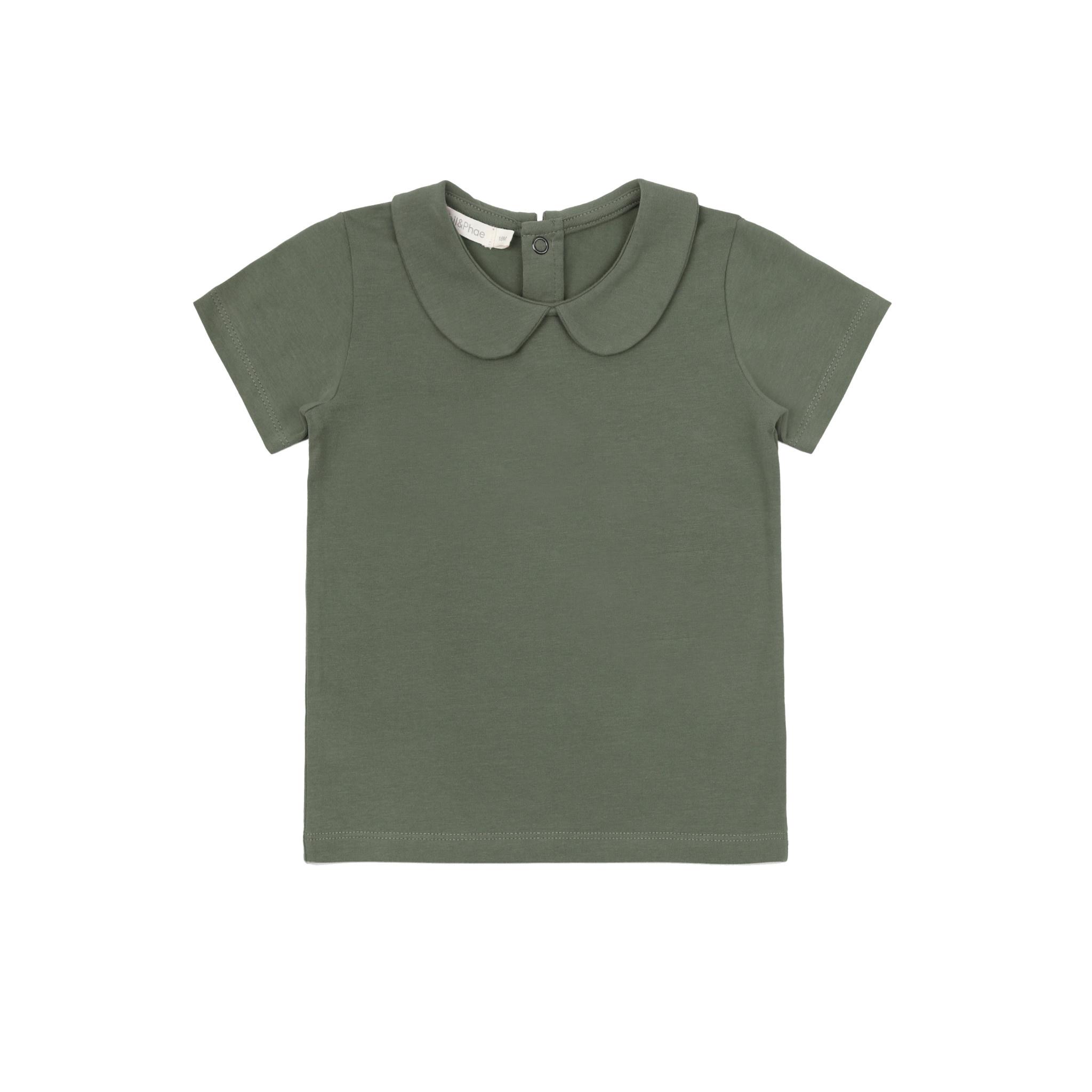 Phil&Phae Phil & Phae - Collar tee short sleeve sage