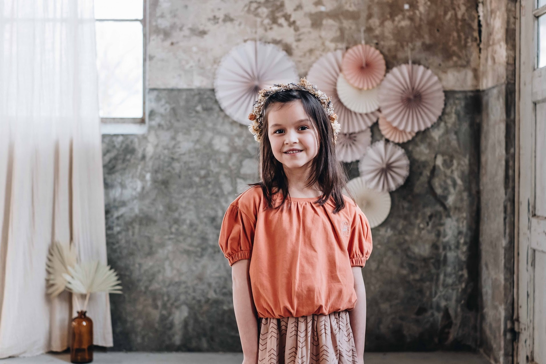 Blossom kids Blossom kids - Cropped top emboidery Dusty coral
