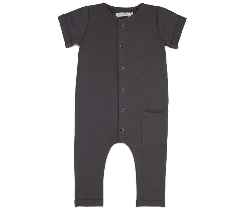 Phil & Phae - Pocket jumpsuit short sleeve graphite