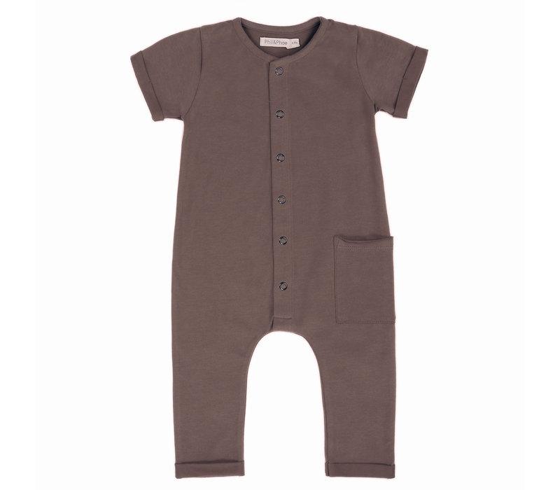 Phil & Phae - Pocket jumpsuit short sleeve heather