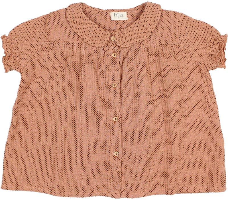 Buho - 9204 Dots blouse Dark siena
