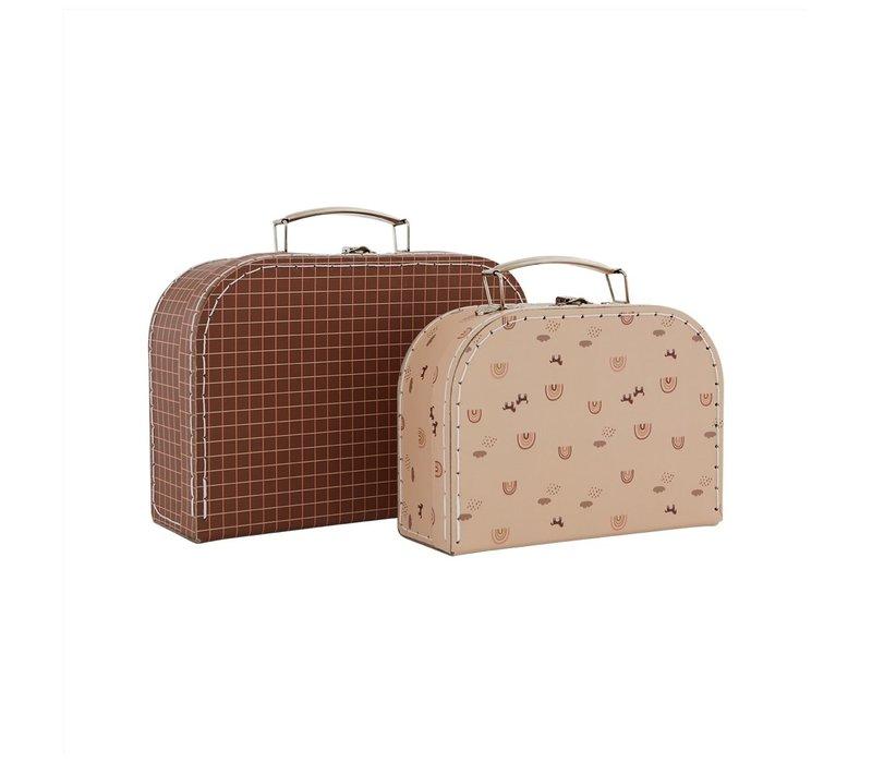 OYOY - Mini Suitcase Rainbow & Grid - Set of 2