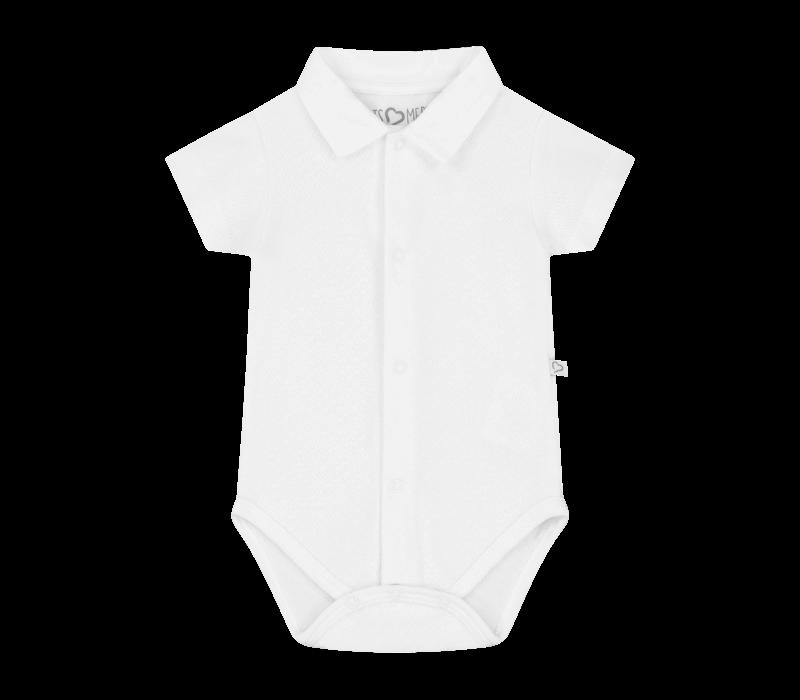 Mats&Merthe - Romper Boy -  Wit korte mouw met wit kraagje