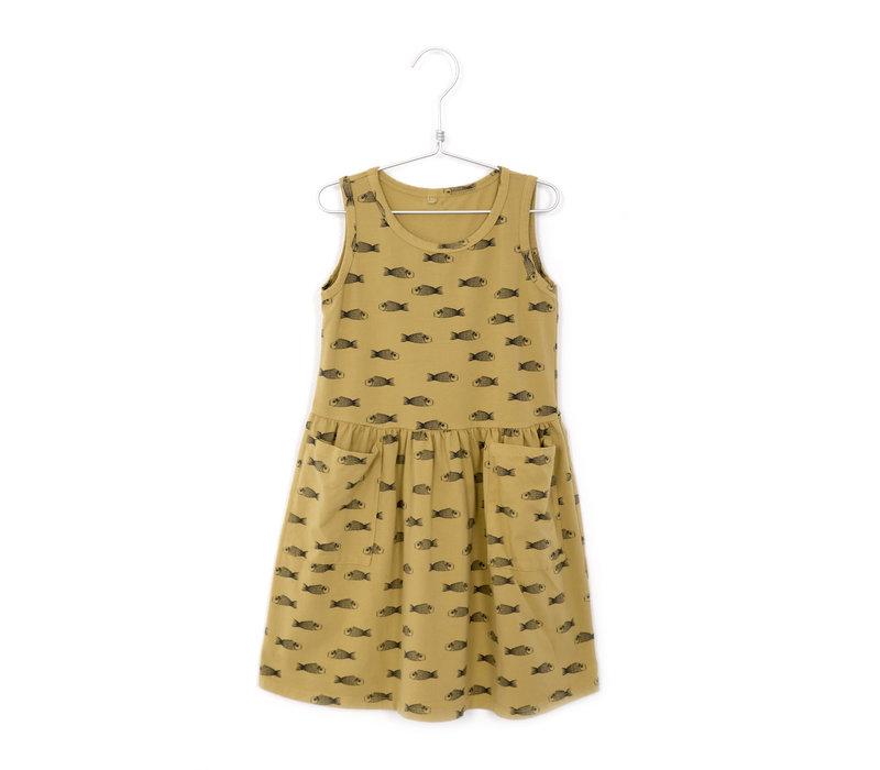 Lötiekids - Dress sleeveless pockets fishes sun yellow - 8/9year