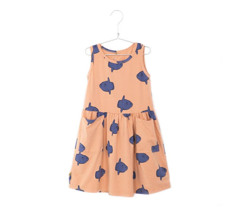 Lötiekids - Dress sleeveless pockets moonfish salmon