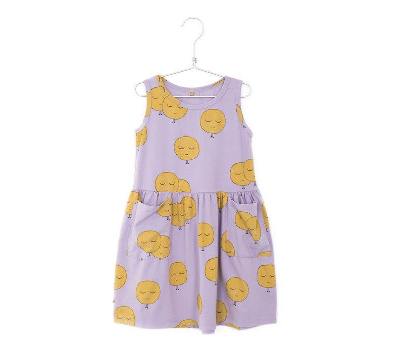 Lötiekids - Dress sleeveless pockets moons mauve - 2/3 year