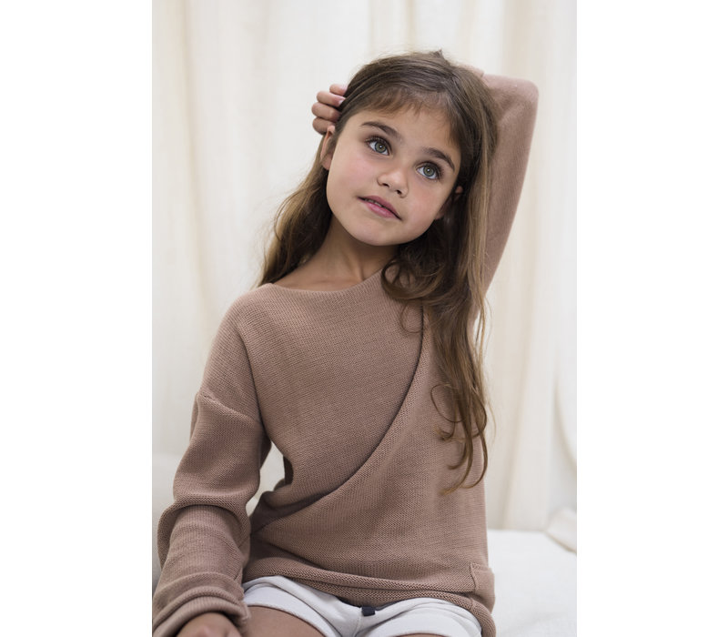 Phil & Phae - Drop-shoulder knit sweater dusty nude - 9/10year