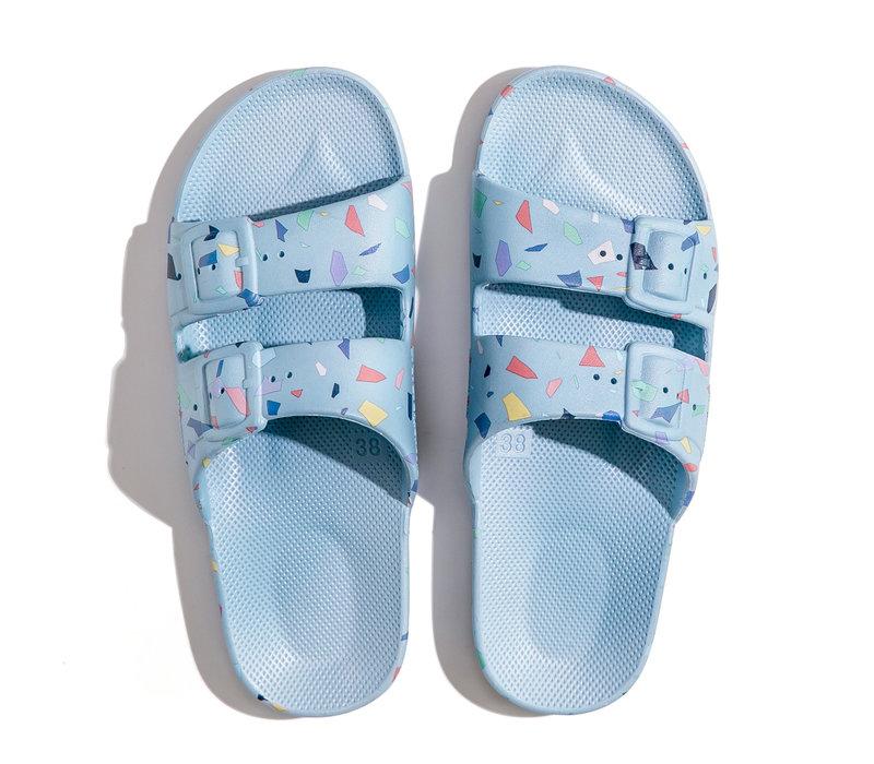Freedom moses - PU-slippers fancy terrazo-lagoon