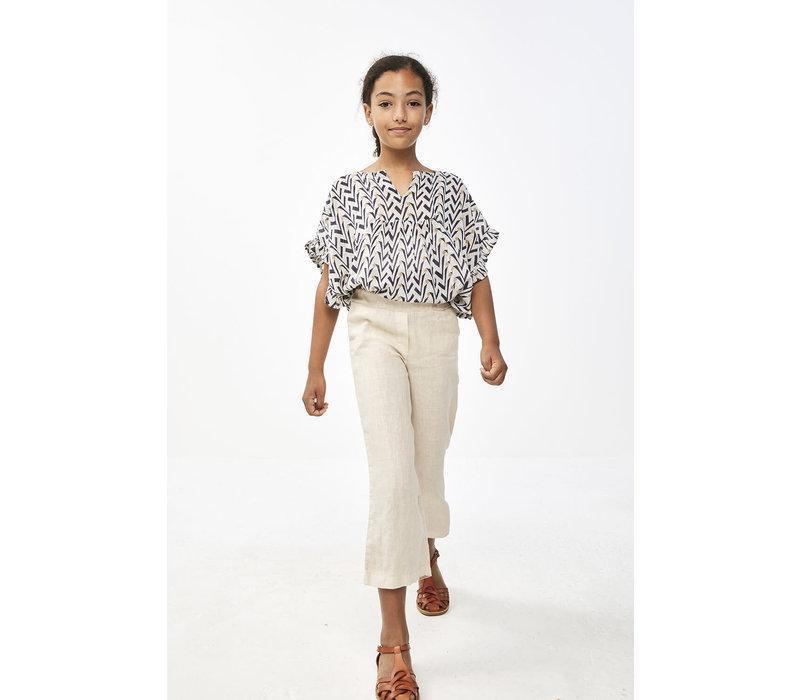By-Bar - Girls ruffle blouse coconut - 4 year
