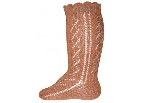 Ewers Ewers - Knee High socks crochet lace camel