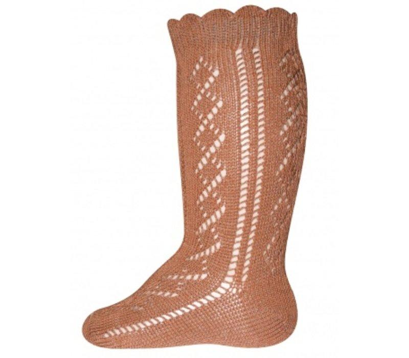 Ewers - Knee High socks crochet lace camel