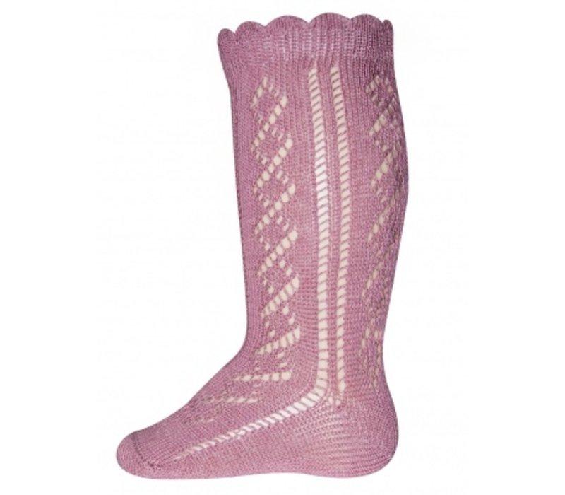 Ewers - Knee High socks crochet lace dusty rose