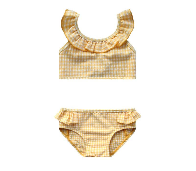 Your wishes -  ruffle bikini set gold checks