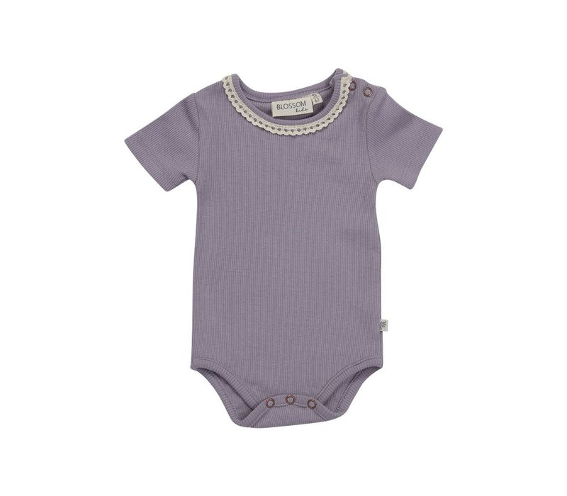 Blossom kids - Body short sleeve with lace lavender gray