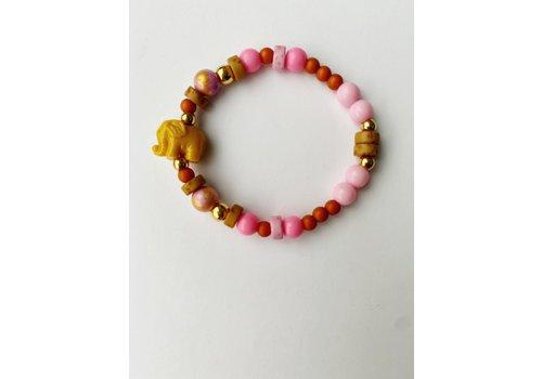 Bymelo Bymelo - armband ollie geel/roze