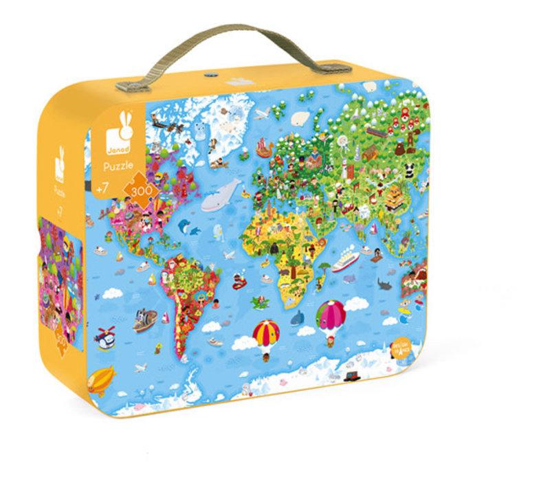 Janod - Kartonnen puzzel Wereld Giant