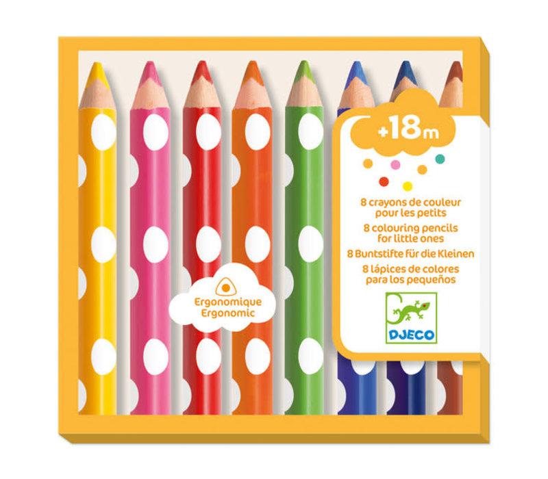 Djeco - 8 kleurpotloden voor kleintjes
