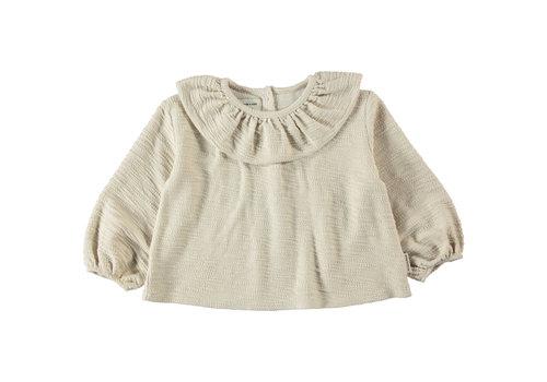 Piupiuchick Piupiuchick - Round collar blouse ecru textured jersey - 3 year