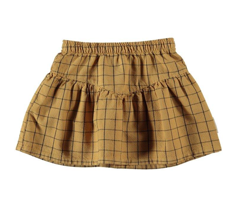 "Piupiuchick - Short skirt ""v"" shape camel checkered"