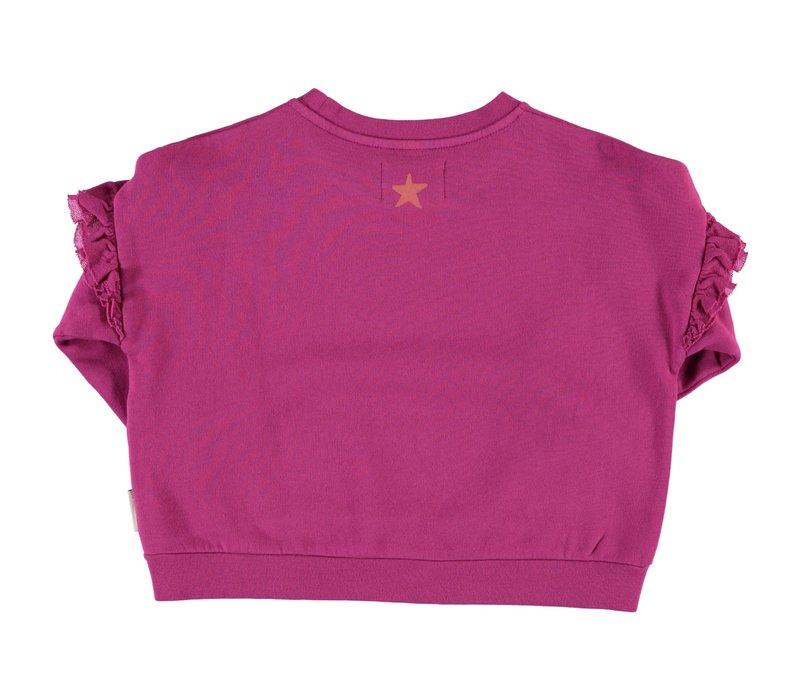 Piupiuchick - Sweatshirt w/ frills fuchsia w/ print - 3 year
