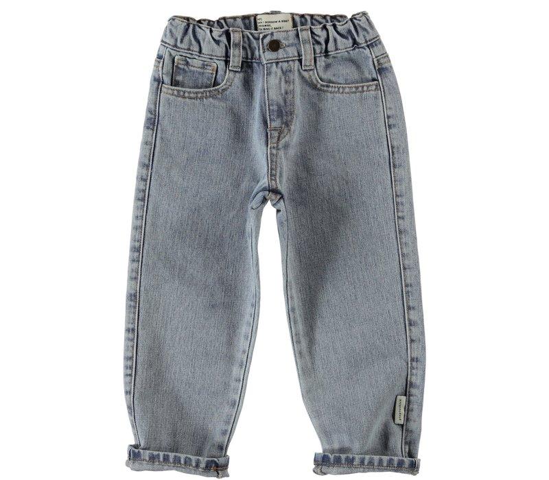 Piupiuchick - Unisex denim trousers washed - 3 year light blue denim
