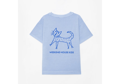 Weekend house kids Weekend House Kids - Embroidered cat t-shirt Pastel Blue