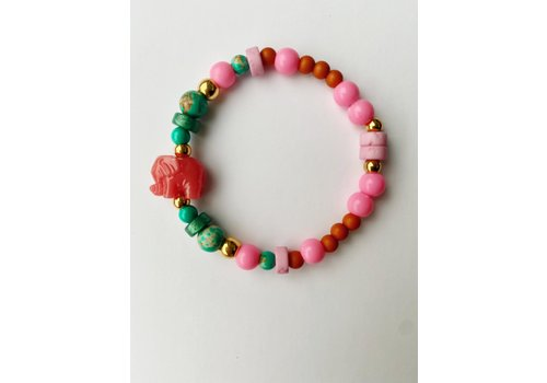 Bymelo Bymelo - Armband Ollie Groen/Roze