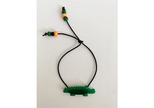 Bymelo Bymelo - Armband zwart krokodil