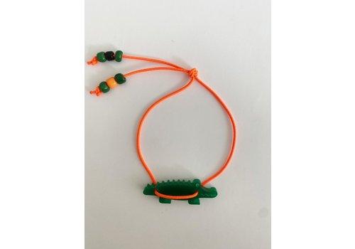 Bymelo Bymelo - Armband oranje  krokodil