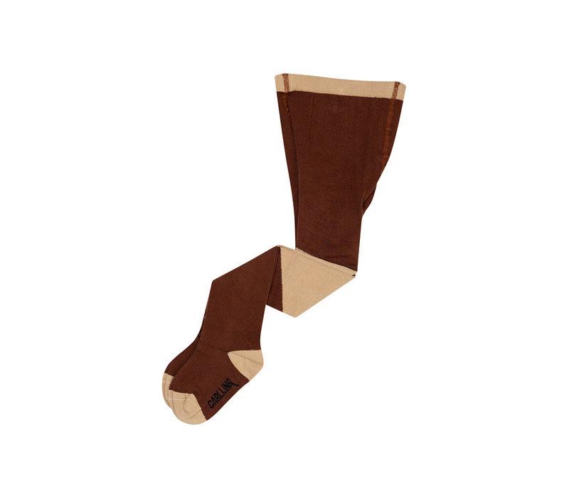 CarlijnQ - Tights diagonal brown/sand