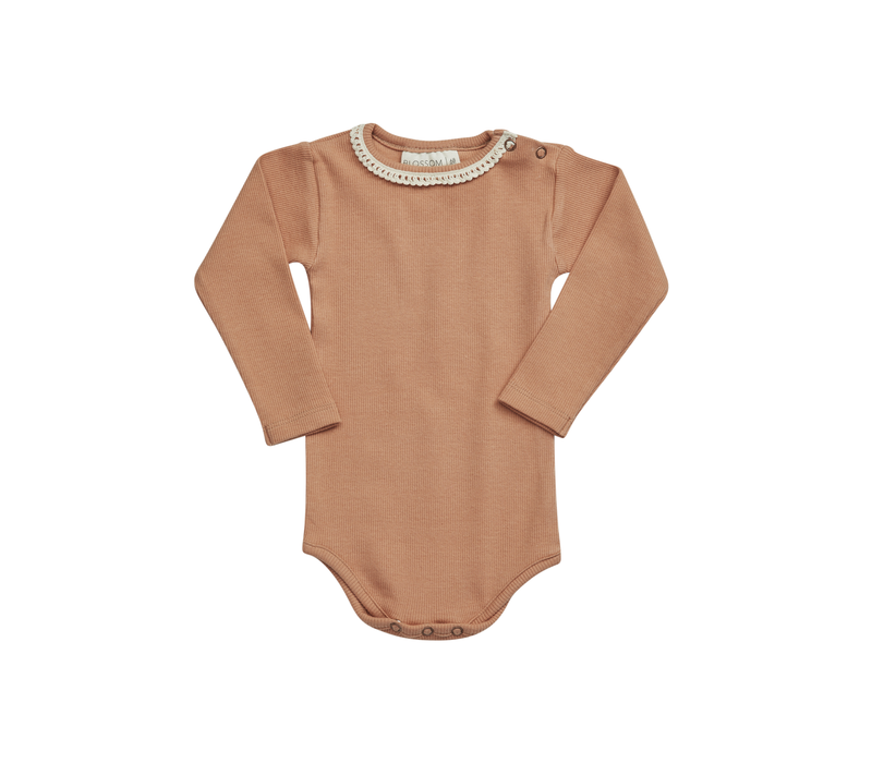 Blossom kids - Body long sleeve with lace soft rib deep toffee
